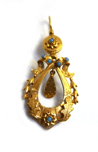 Victorian 15ct gold and turquoise dangle earrings (in Navette on Ruby Lane)