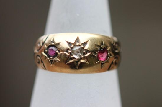 ruby and diamond gypsy set ringIMG_6233